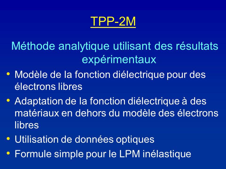 TPP-2M Méthode analytique utilisant des résultats expérimentaux Modèle de la fonction diélectrique pour des électrons libres Adaptation de la fonction diélectrique à des matériaux en dehors du modèle des électrons libres Utilisation de données optiques Formule simple pour le LPM inélastique