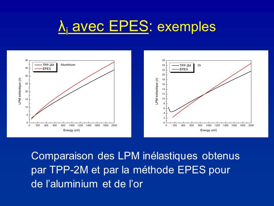λ i avec EPES: exemples Comparaison des LPM inélastiques obtenus par TPP-2M et par la méthode EPES pour de laluminium et de lor