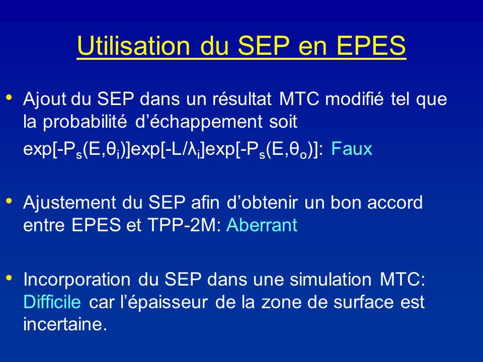 Utilisation du SEP en EPES Ajout du SEP dans un résultat MTC modifié tel que la probabilité déchappement soit exp[-P s (E,θ i )]exp[-L/λ i ]exp[-P s (E,θ o )]: Faux Ajustement du SEP afin dobtenir un bon accord entre EPES et TPP-2M: Aberrant Incorporation du SEP dans une simulation MTC: Difficile car lépaisseur de la zone de surface est incertaine.