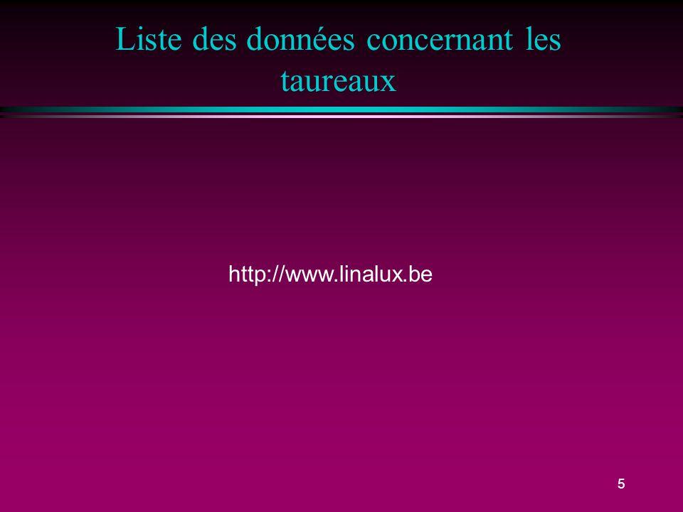 5 Liste des données concernant les taureaux http://www.linalux.be