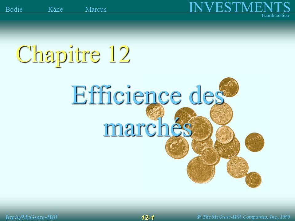 The McGraw-Hill Companies, Inc., 1999 INVESTMENTS Fourth Edition Bodie Kane Marcus Irwin/McGraw-Hill 12-2 Est-ce que les prix des actifs financiers reflètent l information .