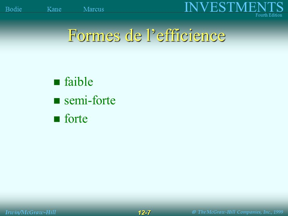 The McGraw-Hill Companies, Inc., 1999 INVESTMENTS Fourth Edition Bodie Kane Marcus Irwin/McGraw-Hill 12-7 faible semi-forte forte Formes de lefficience