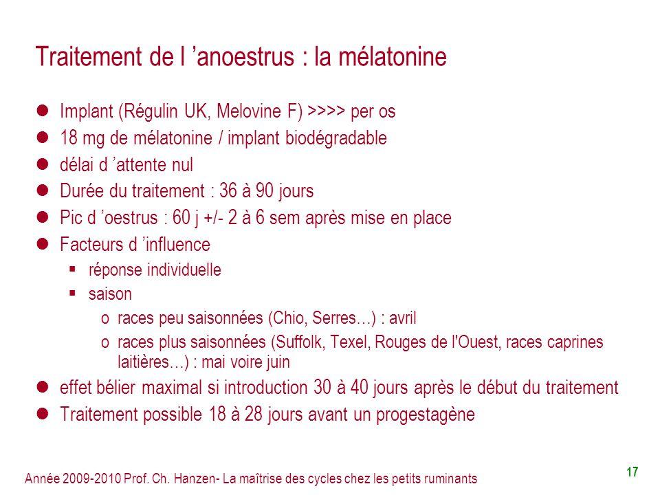 Année 2009-2010 Prof. Ch. Hanzen- La maîtrise des cycles chez les petits ruminants 17 Traitement de l anoestrus : la mélatonine Implant (Régulin UK, M