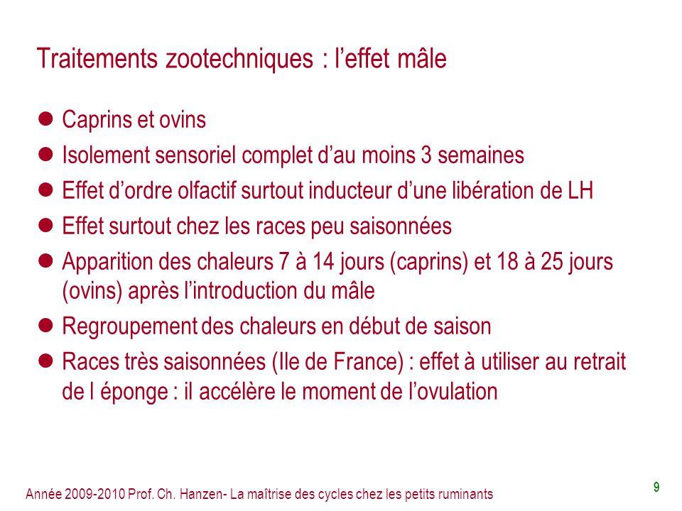 Année 2009-2010 Prof. Ch. Hanzen- La maîtrise des cycles chez les petits ruminants 9 Traitements zootechniques : leffet mâle Caprins et ovins Isolemen