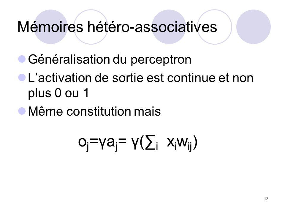 12 Mémoires hétéro-associatives Généralisation du perceptron Lactivation de sortie est continue et non plus 0 ou 1 Même constitution mais o j =γa j = γ( i x i w ij )