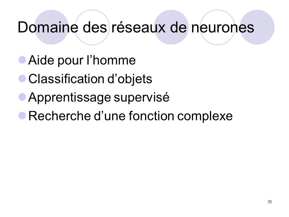 30 Domaine des réseaux de neurones Aide pour lhomme Classification dobjets Apprentissage supervisé Recherche dune fonction complexe