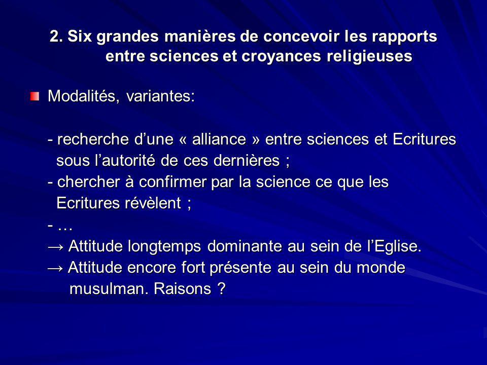 2. Six grandes manières de concevoir les rapports entre sciences et croyances religieuses Modalités, variantes: - recherche dune « alliance » entre sc