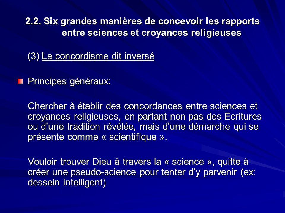 2.2. Six grandes manières de concevoir les rapports entre sciences et croyances religieuses (3) Le concordisme dit inversé (3) Le concordisme dit inve