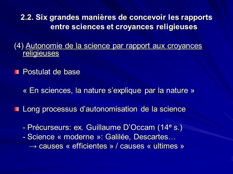 2.2. Six grandes manières de concevoir les rapports entre sciences et croyances religieuses (4) Autonomie de la science par rapport aux croyances reli