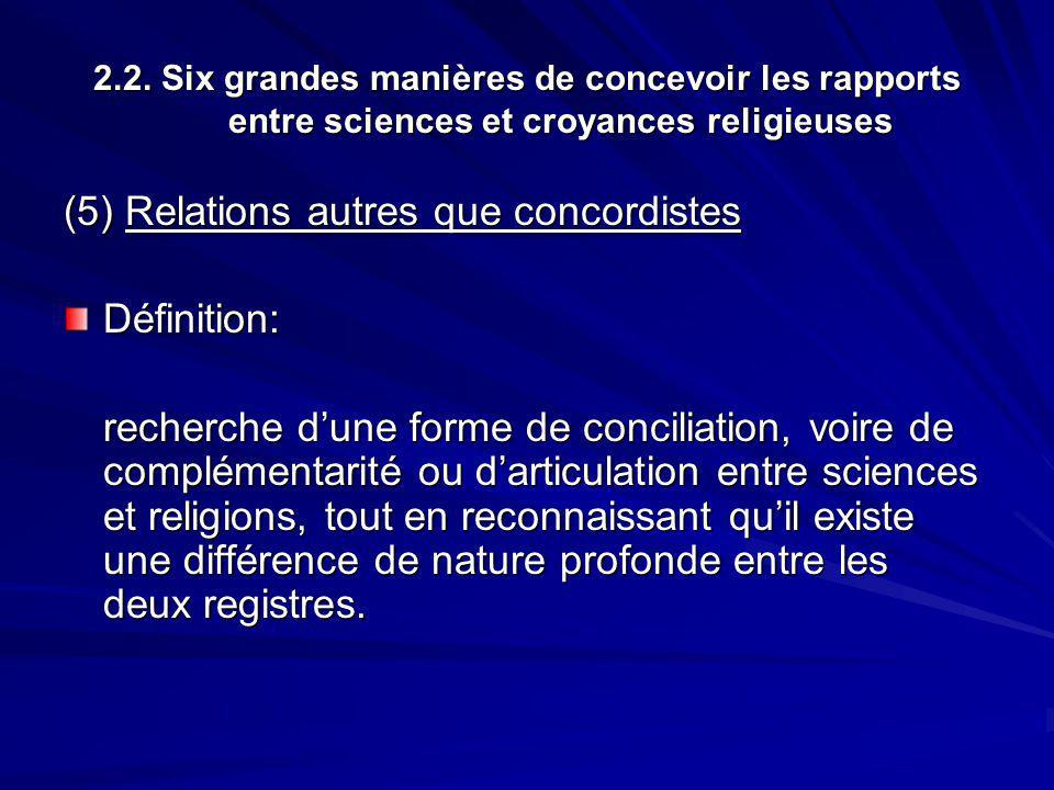 2.2. Six grandes manières de concevoir les rapports entre sciences et croyances religieuses (5) Relations autres que concordistes Définition: recherch