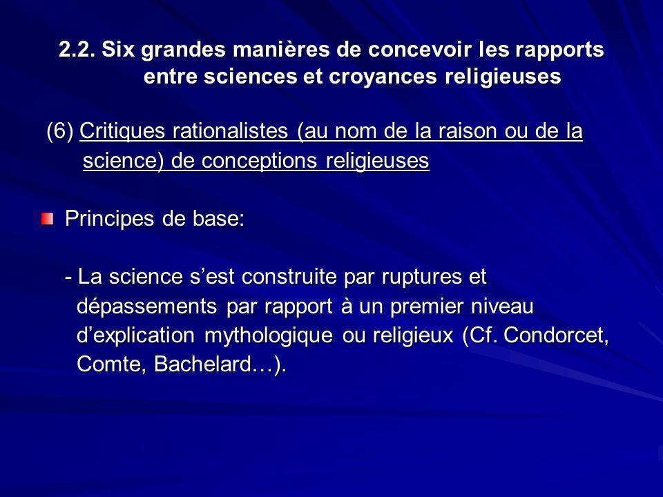 2.2. Six grandes manières de concevoir les rapports entre sciences et croyances religieuses (6) Critiques rationalistes (au nom de la raison ou de la