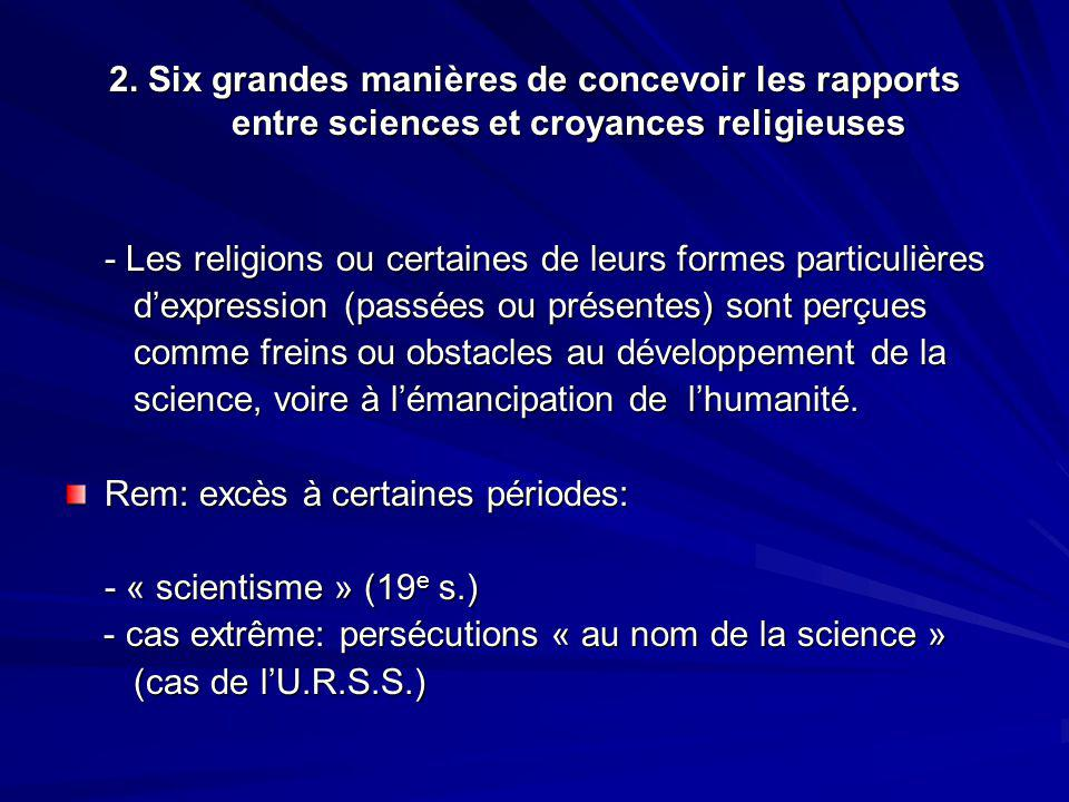 2. Six grandes manières de concevoir les rapports entre sciences et croyances religieuses - Les religions ou certaines de leurs formes particulières d