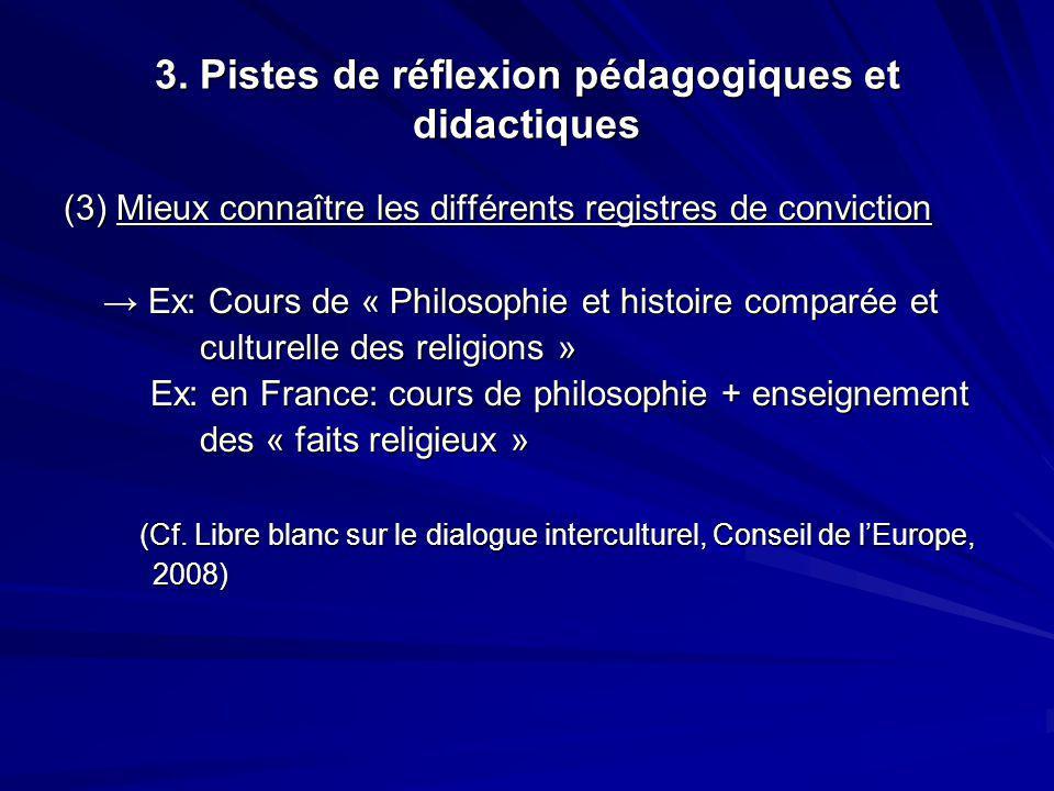 3. Pistes de réflexion pédagogiques et didactiques (3) Mieux connaître les différents registres de conviction Ex: Cours de « Philosophie et histoire c