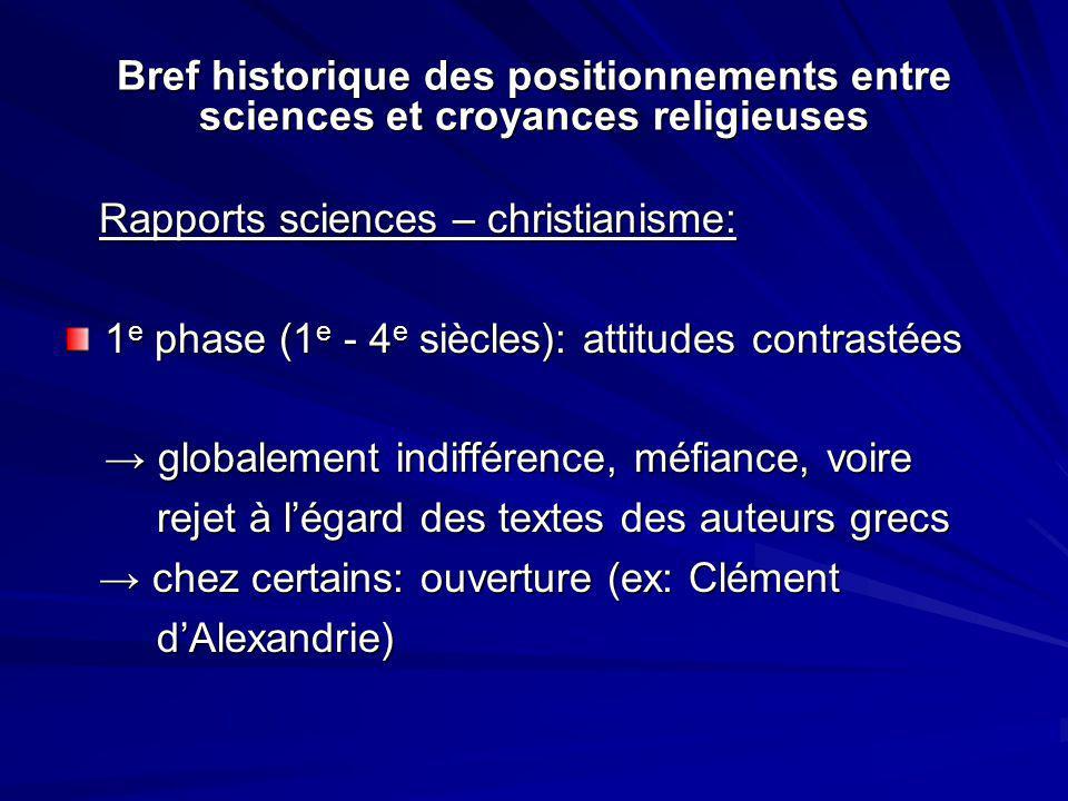 Bref historique des positionnements entre sciences et croyances religieuses Rapports sciences – christianisme: Rapports sciences – christianisme: 1 e