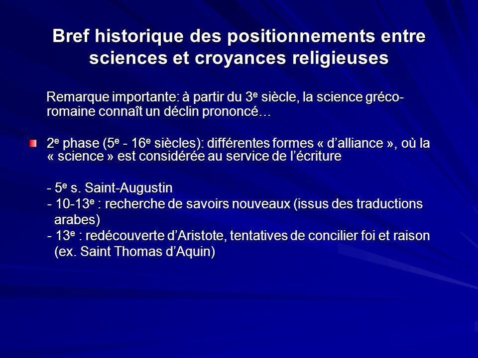 Bref historique des positionnements entre sciences et croyances religieuses Remarque importante: à partir du 3 e siècle, la science gréco- romaine con
