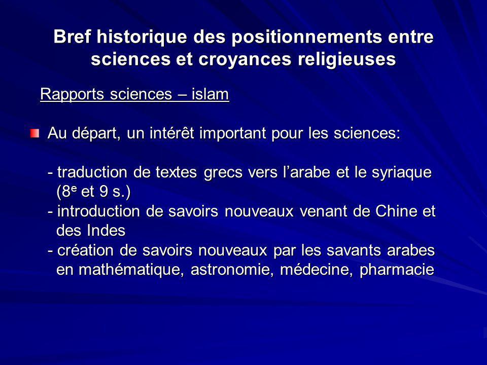 Bref historique des positionnements entre sciences et croyances religieuses Rapports sciences – islam Rapports sciences – islam Au départ, un intérêt