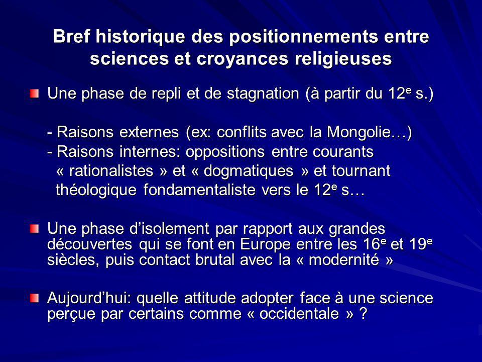 Bref historique des positionnements entre sciences et croyances religieuses Une phase de repli et de stagnation (à partir du 12 e s.) - Raisons extern