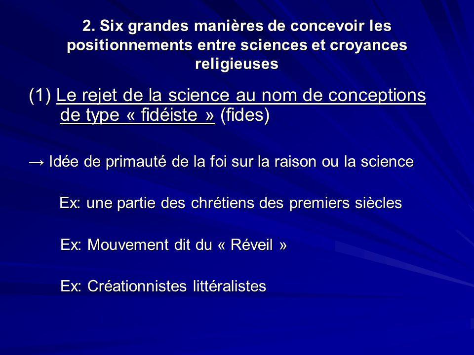 2. Six grandes manières de concevoir les positionnements entre sciences et croyances religieuses (1) Le rejet de la science au nom de conceptions de t