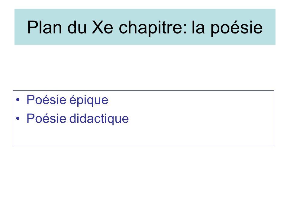 Plan du Xe chapitre: la poésie Poésie épique Poésie didactique