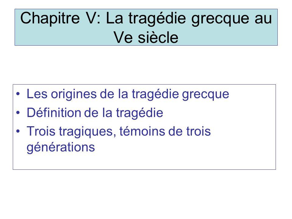 Chapitre V: La tragédie grecque au Ve siècle Les origines de la tragédie grecque Définition de la tragédie Trois tragiques, témoins de trois générations