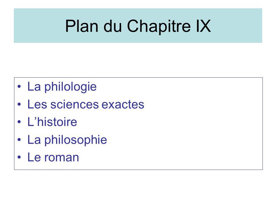 Plan du Chapitre IX La philologie Les sciences exactes Lhistoire La philosophie Le roman