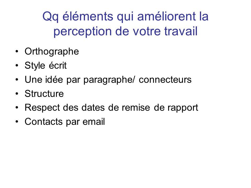 Orthographe Style écrit Une idée par paragraphe/ connecteurs Structure Respect des dates de remise de rapport Contacts par email
