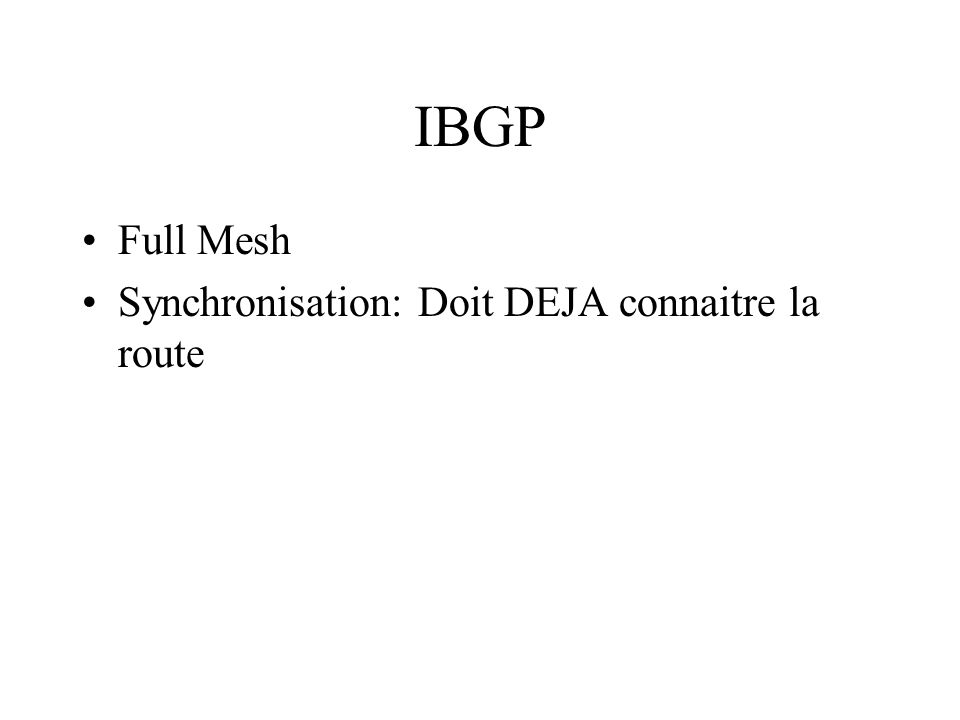 IBGP Full Mesh Synchronisation: Doit DEJA connaitre la route