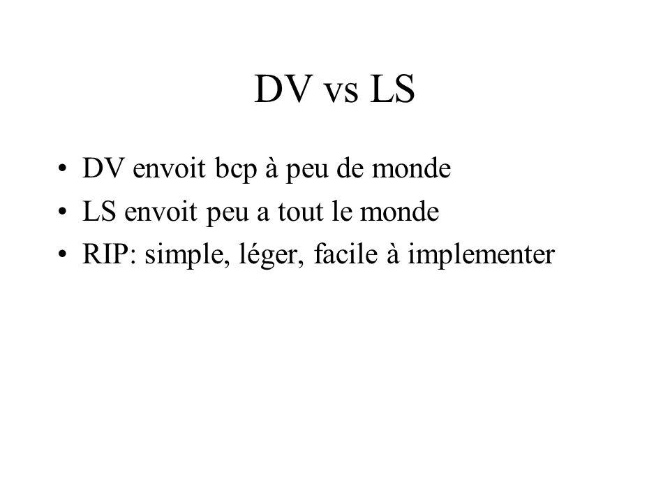 DV vs LS DV envoit bcp à peu de monde LS envoit peu a tout le monde RIP: simple, léger, facile à implementer