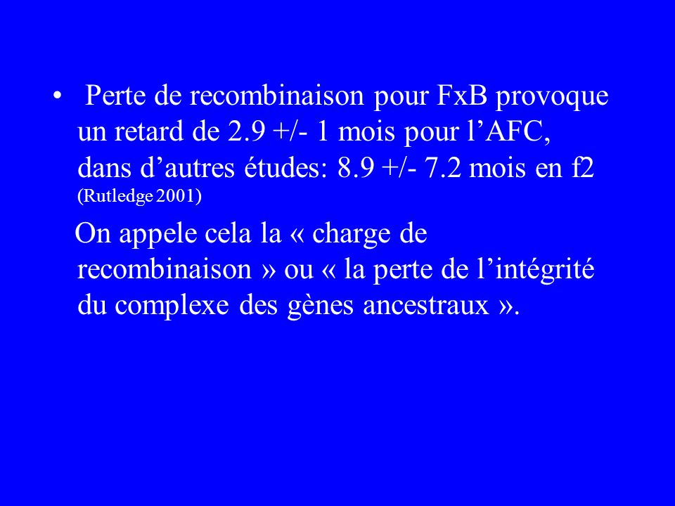 Perte de recombinaison pour FxB provoque un retard de 2.9 +/- 1 mois pour lAFC, dans dautres études: 8.9 +/- 7.2 mois en f2 (Rutledge 2001) On appele cela la « charge de recombinaison » ou « la perte de lintégrité du complexe des gènes ancestraux ».