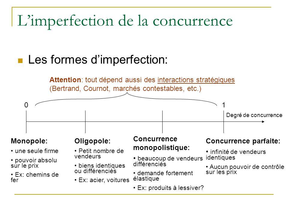Limperfection de la concurrence Les formes dimperfection: 01 Degré de concurrence Monopole: une seule firme pouvoir absolu sur le prix Ex: chemins de