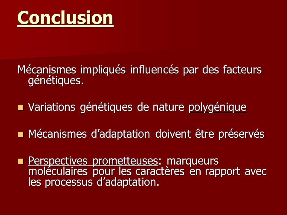Conclusion Mécanismes impliqués influencés par des facteurs génétiques. Variations génétiques de nature polygénique Variations génétiques de nature po