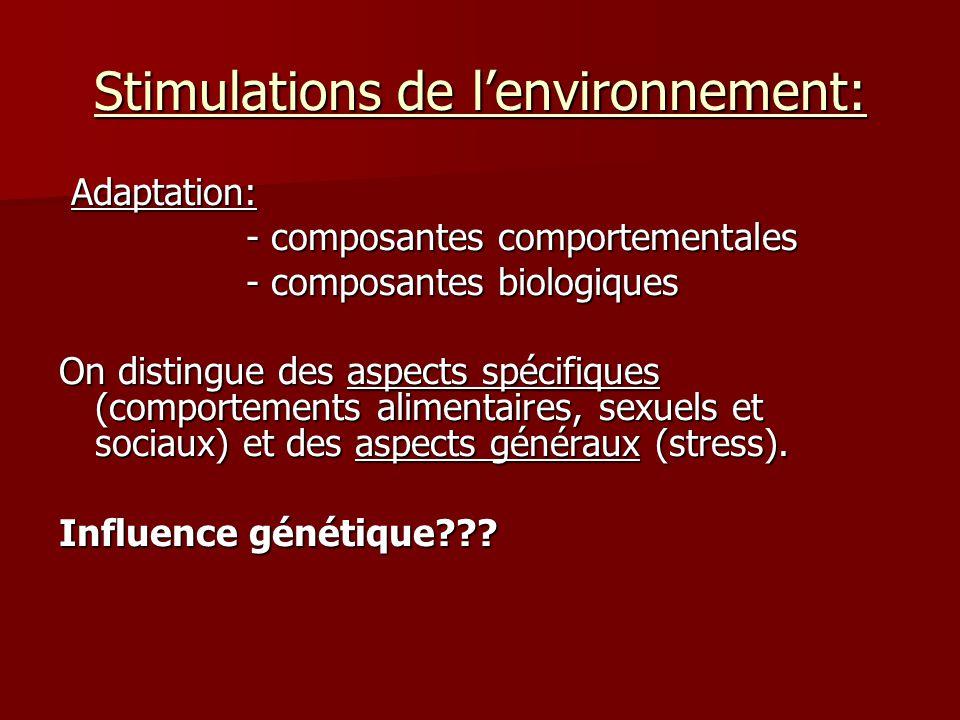 Stimulations de lenvironnement: Adaptation: Adaptation: - composantes comportementales - composantes comportementales - composantes biologiques - composantes biologiques On distingue des aspects spécifiques (comportements alimentaires, sexuels et sociaux) et des aspects généraux (stress).