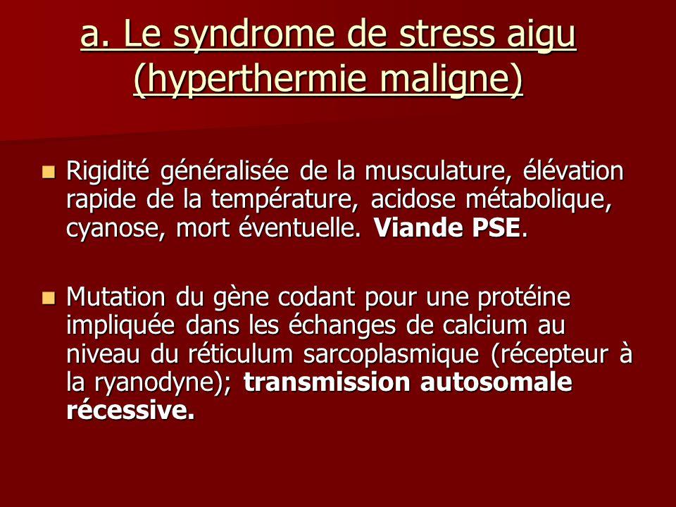 a. Le syndrome de stress aigu (hyperthermie maligne) Rigidité généralisée de la musculature, élévation rapide de la température, acidose métabolique,