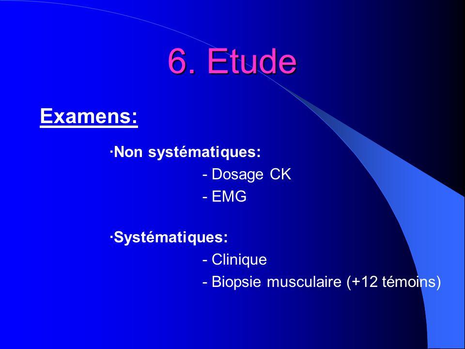 6. Etude Examens: ·Non systématiques: - Dosage CK - EMG ·Systématiques: - Clinique - Biopsie musculaire (+12 témoins)