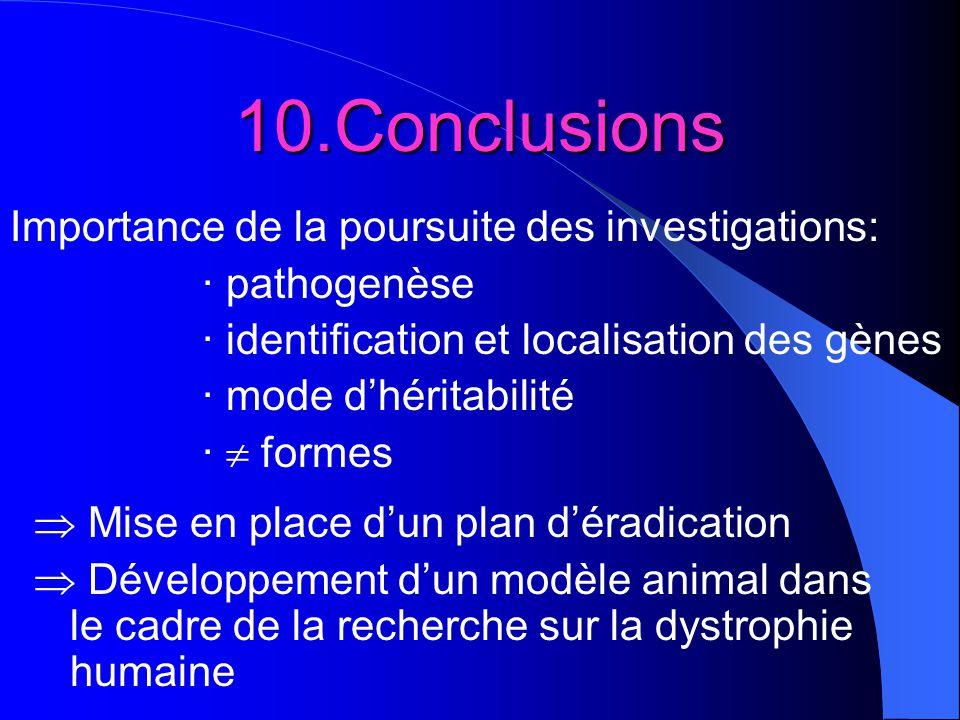 10.Conclusions Importance de la poursuite des investigations: · pathogenèse · identification et localisation des gènes · mode dhéritabilité · formes M