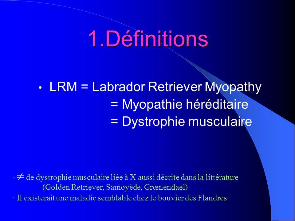1.Définitions LRM = Labrador Retriever Myopathy = Myopathie héréditaire = Dystrophie musculaire · de dystrophie musculaire liée à X aussi décrite dans