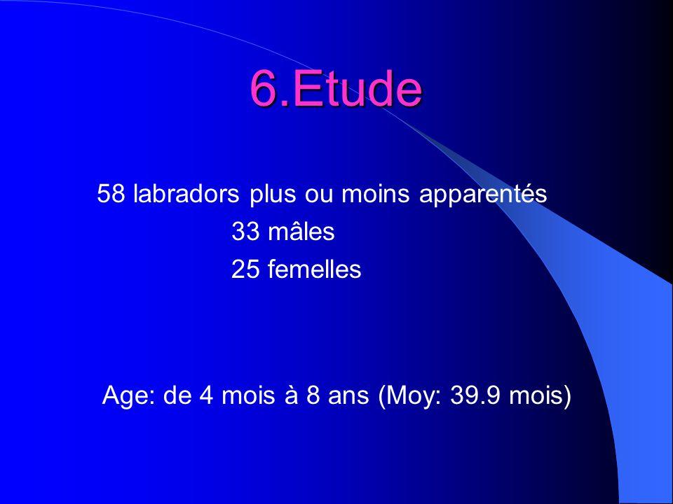 6.Etude 58 labradors plus ou moins apparentés 33 mâles 25 femelles Age: de 4 mois à 8 ans (Moy: 39.9 mois)
