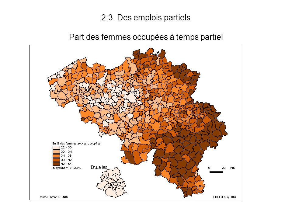 2.3. Des emplois partiels Part des femmes occupées à temps partiel