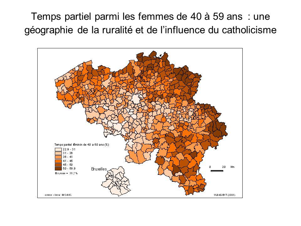Temps partiel parmi les femmes de 40 à 59 ans : une géographie de la ruralité et de linfluence du catholicisme