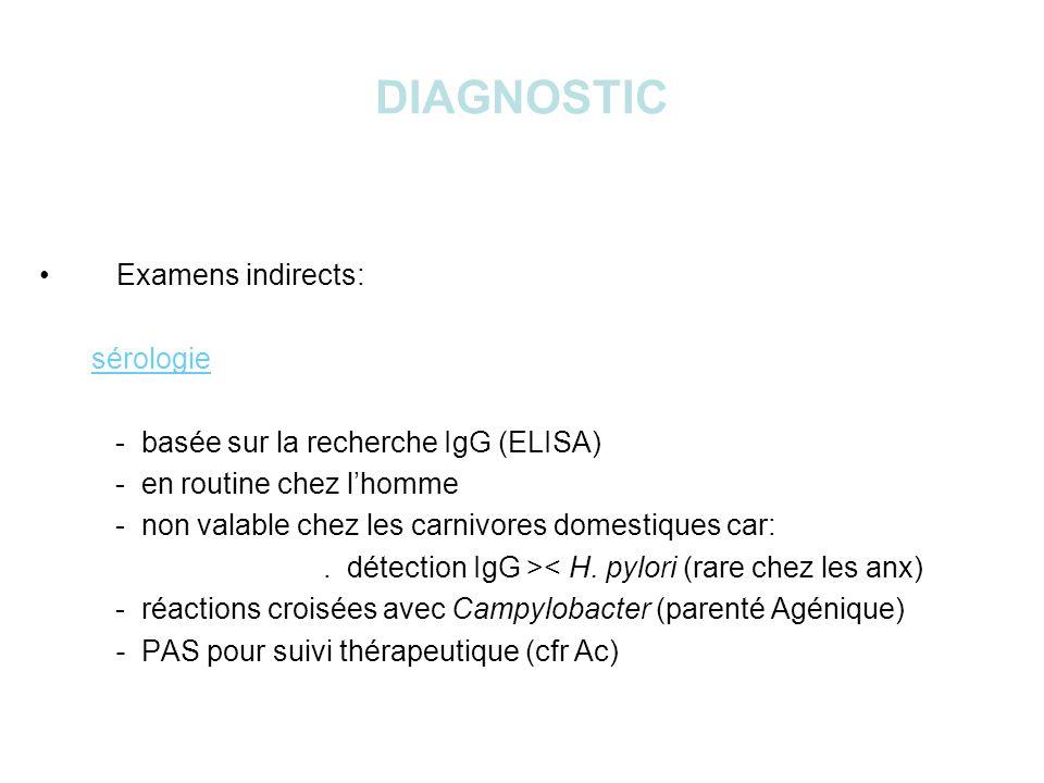 DIAGNOSTIC Examens indirects: sérologie - basée sur la recherche IgG (ELISA) - en routine chez lhomme - non valable chez les carnivores domestiques car:.