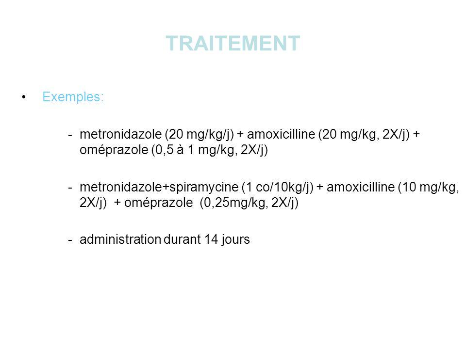 TRAITEMENT Exemples: - metronidazole (20 mg/kg/j) + amoxicilline (20 mg/kg, 2X/j) + oméprazole (0,5 à 1 mg/kg, 2X/j) - metronidazole+spiramycine (1 co/10kg/j) + amoxicilline (10 mg/kg, 2X/j) + oméprazole (0,25mg/kg, 2X/j) - administration durant 14 jours
