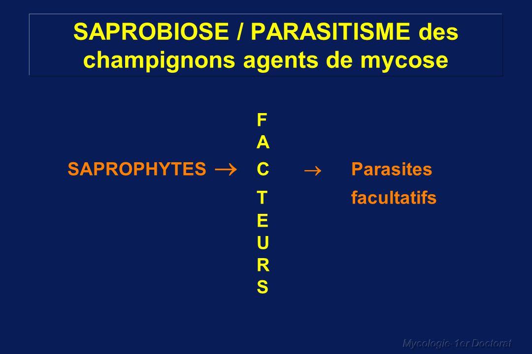 Mycologie-1er Doctorat SAPROBIOSE / PARASITISME des champignons agents de mycose F A SAPROPHYTES C Parasites T facultatifs E U R S