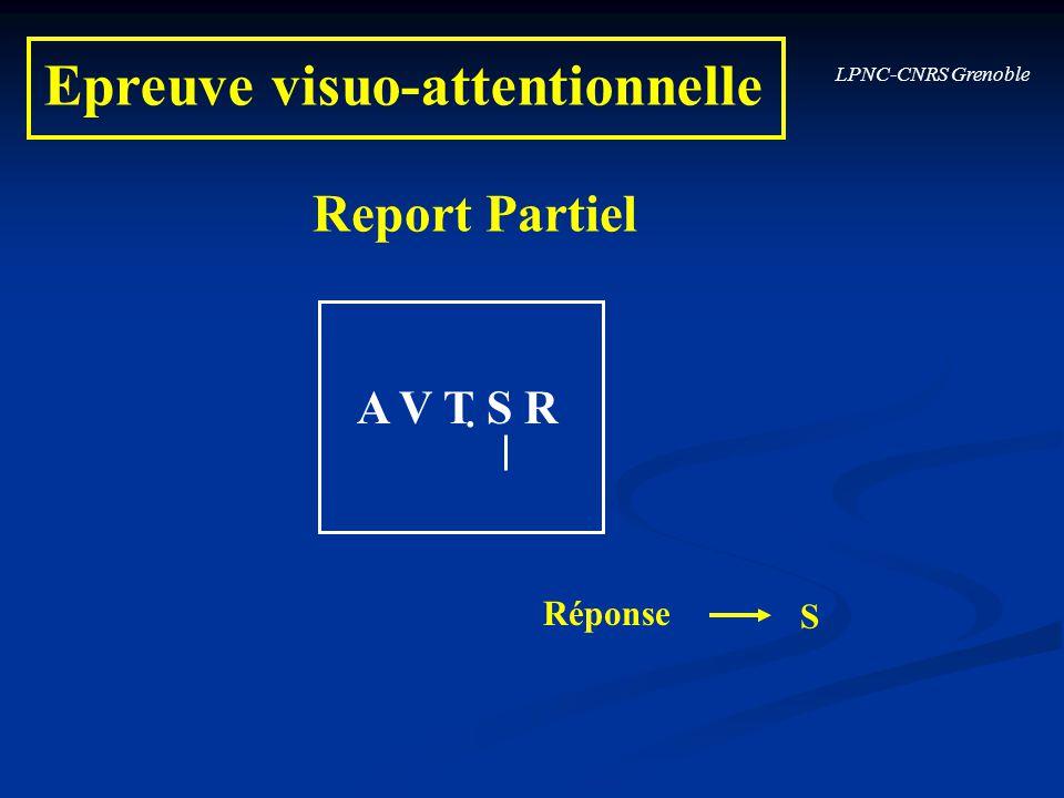 Report Partiel S Réponse. A V T S R Epreuve visuo-attentionnelle