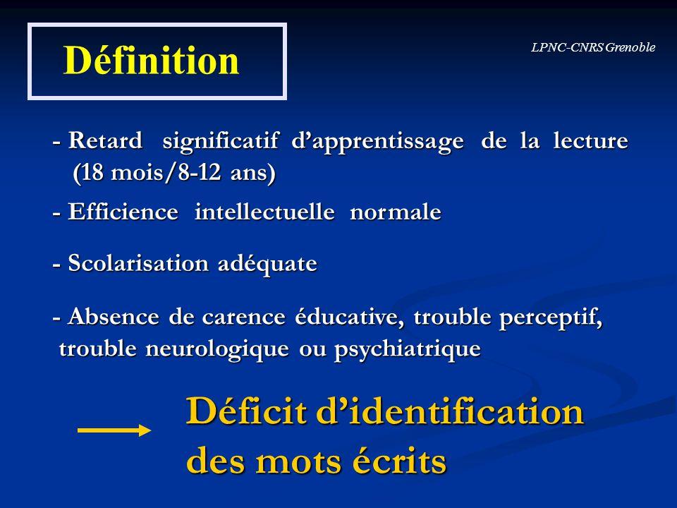 LPNC-CNRS Grenoble Définition - Retard significatif dapprentissage de la lecture (18 mois/8-12 ans) (18 mois/8-12 ans) - Efficience intellectuelle nor
