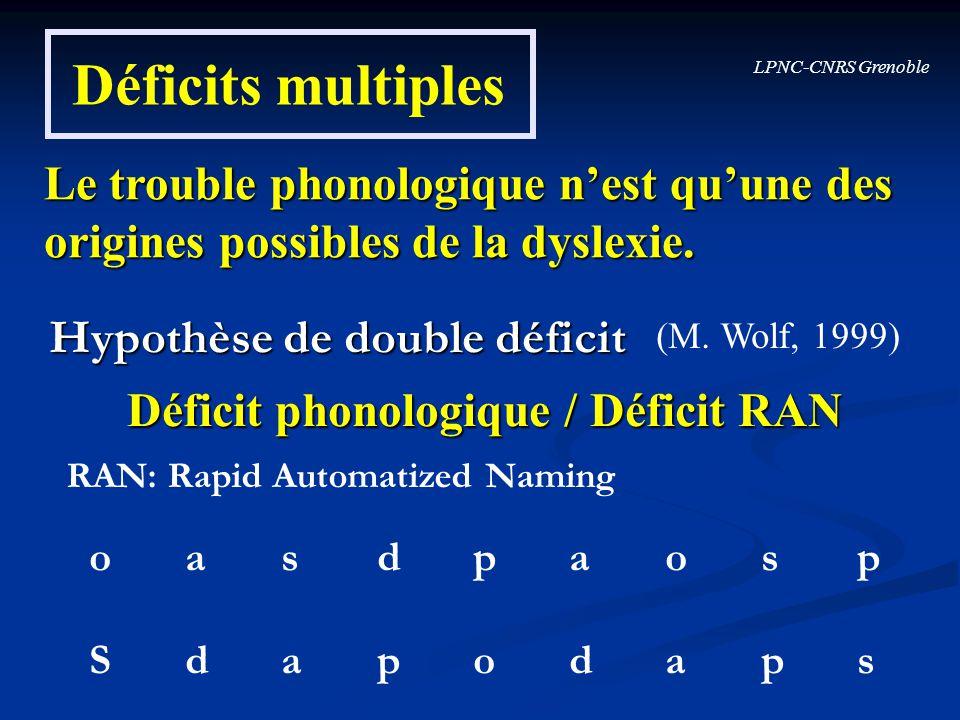 LPNC-CNRS Grenoble Déficits multiples Le trouble phonologique nest quune des origines possibles de la dyslexie. (M. Wolf, 1999) Déficit phonologique /