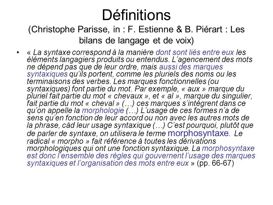 Définitions -Morphologie : analyse de la structure au niveau du mot; étudie lorganisation des morphèmes (les plus petites unités de sens), et leur combinaison pour former des mots et modifier leur sens en fonction des contextes linguistiques -AFFIXES -Suffixes : le « s » du pluriel, le « -ed » du passé en anglais; -Préfixes: « un » (undo), « para » paramilitaire -Morphèmes « attachés » : attachés aux mots dont ils modifient le sens : Daddy eats apples -Morphèmes non liés: articles « a », « the », conjonction « et », prépositions « dans, sur » -Jai trouvé un chien; jai trouvé le chien