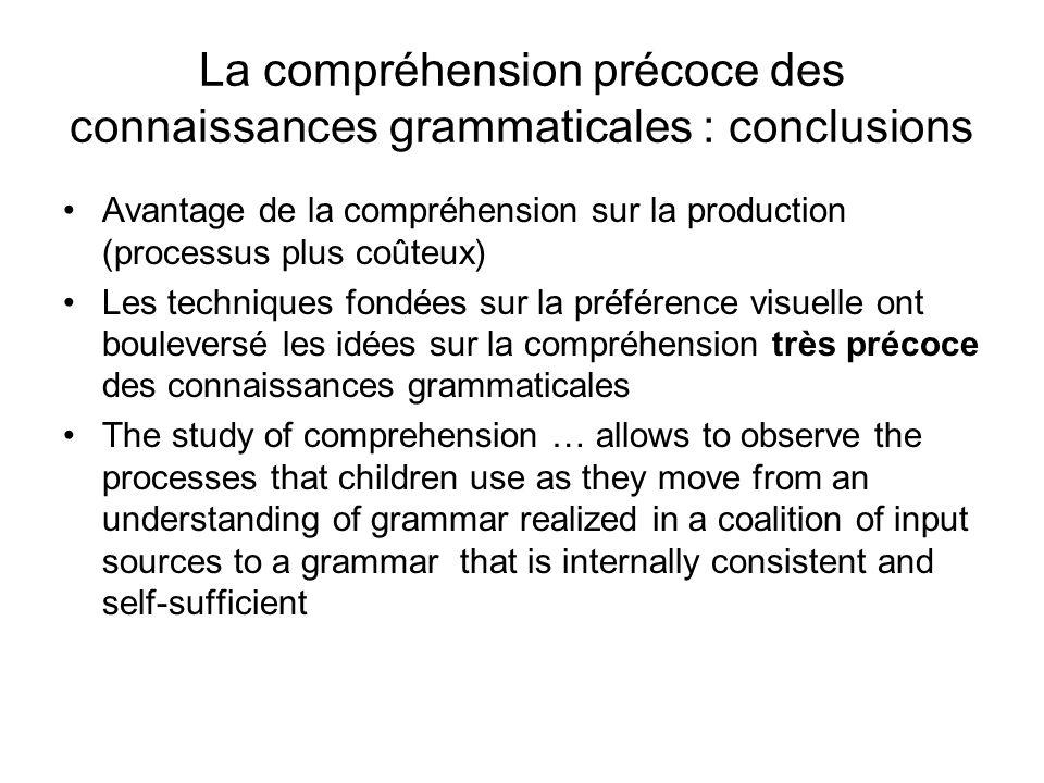 La compréhension précoce des connaissances grammaticales : conclusions Avantage de la compréhension sur la production (processus plus coûteux) Les tec