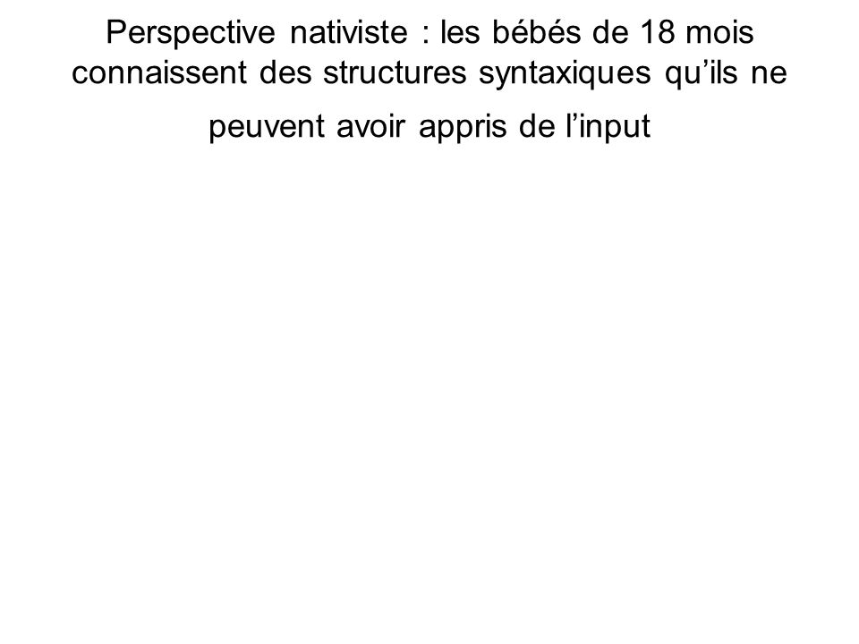 What infants know about syntax but couldnt have learned : experimental evidence for syntactic structure at 18 months Lidz, Waxman & Freedman (2003) (dias adaptées du cours de A.