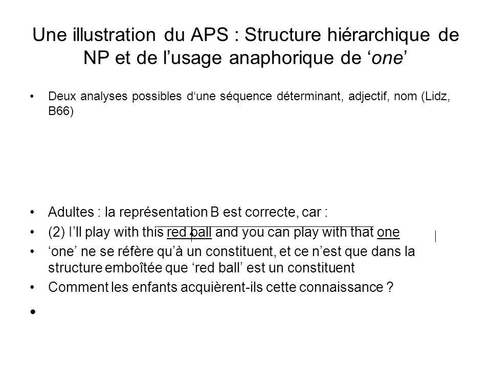 Une illustration du APS : Structure hiérarchique de NP et de lusage anaphorique de one Deux analyses possibles dune séquence déterminant, adjectif, no