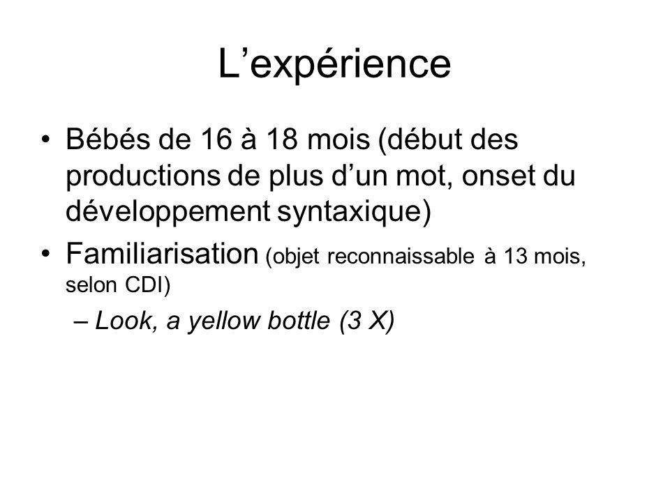 Lexpérience Bébés de 16 à 18 mois (début des productions de plus dun mot, onset du développement syntaxique) Familiarisation (objet reconnaissable à 1